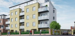 Exterior of apartment block Houses for sale
