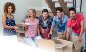 friends unpacking boxes Houses for sale