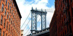 Suspension bridge and buildings