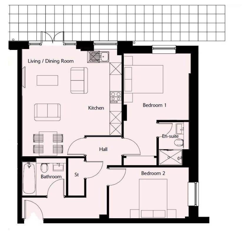 Floorplan Plot 33 at Westmister Mansions at Viridium