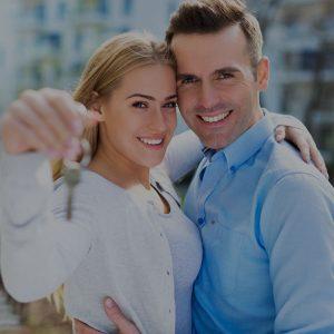 Couple holding keys Hodson banner help to buy mobile