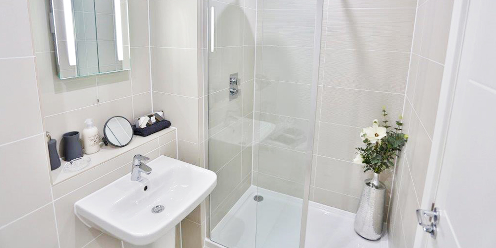 Sink and shower Stunning bathrooms at the Fitzroy Collection, Bracknell